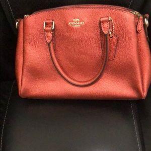 Coach mini satchel. Red gunmetal